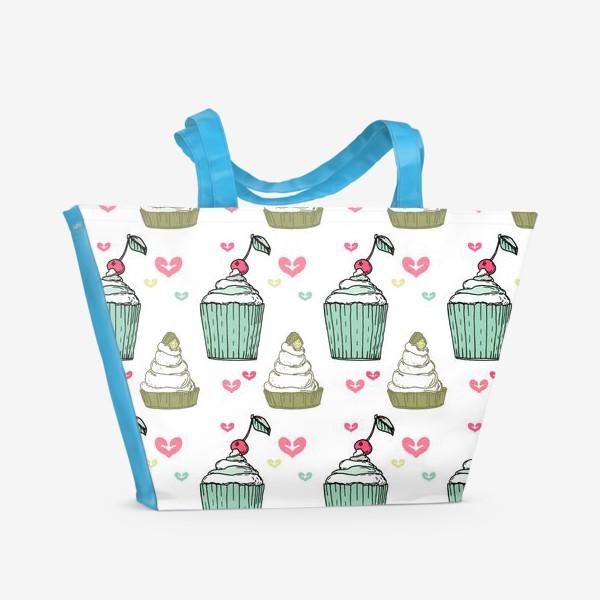 Пляжная сумка «Кексы и сердца-это любовь»