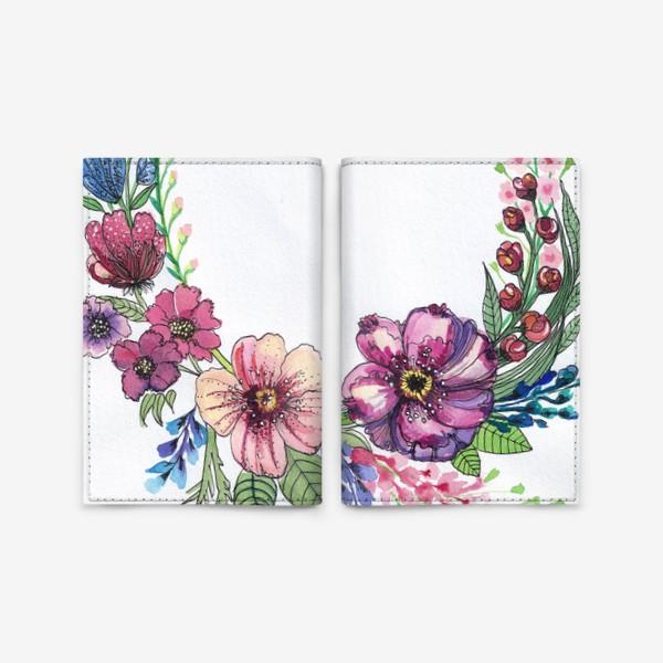 Обложка для паспорта «Цветы в венке»