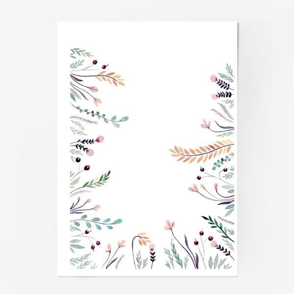 Постер «Веточки-цветочки, фон»