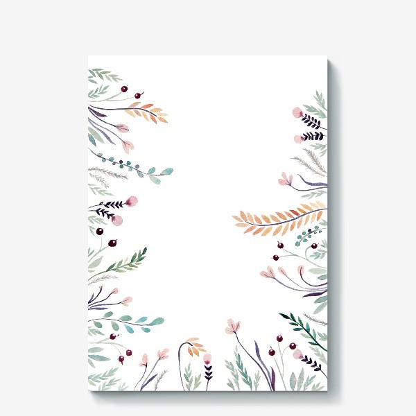 Холст «Веточки-цветочки, фон»