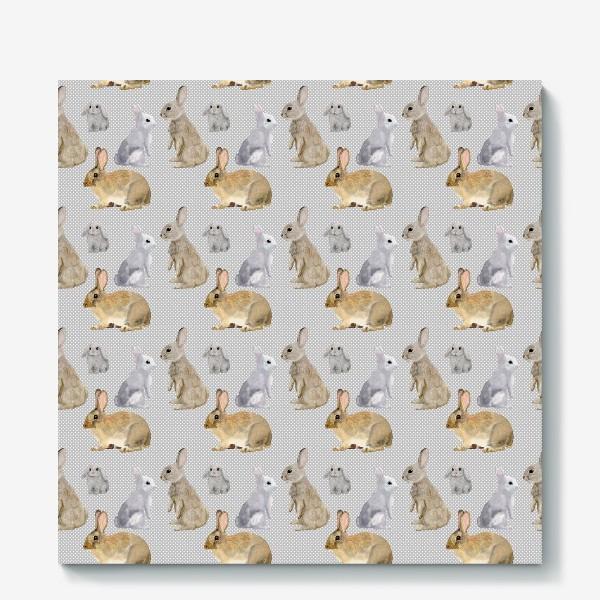 Холст «Кролики и горошек »