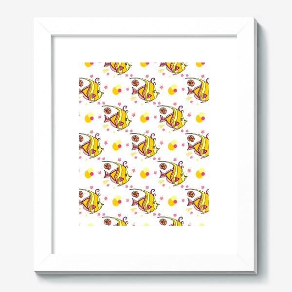 Картина «Паттерн милые тропические рыбки со звездочками и ракушками»