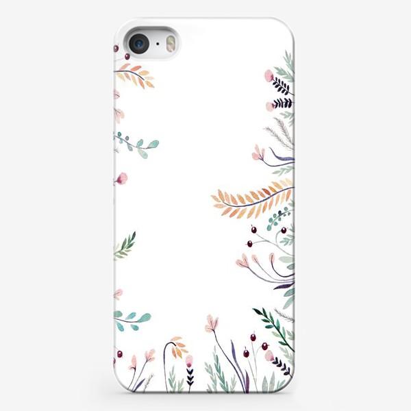 Чехол iPhone «Веточки-цветочки, фон»