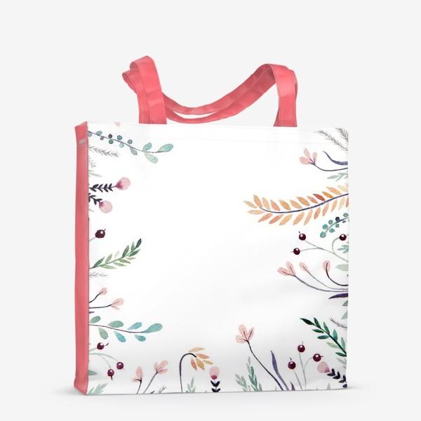 Сумка-шоппер «Веточки-цветочки, фон»
