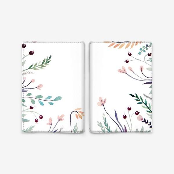 Обложка для паспорта «Веточки-цветочки, фон»