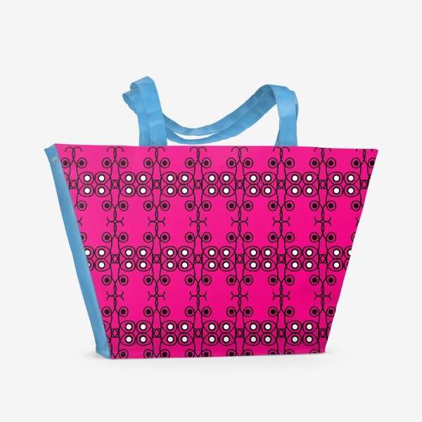 Пляжная сумка «Абстрактный чёрно-розовый этнический паттерн»