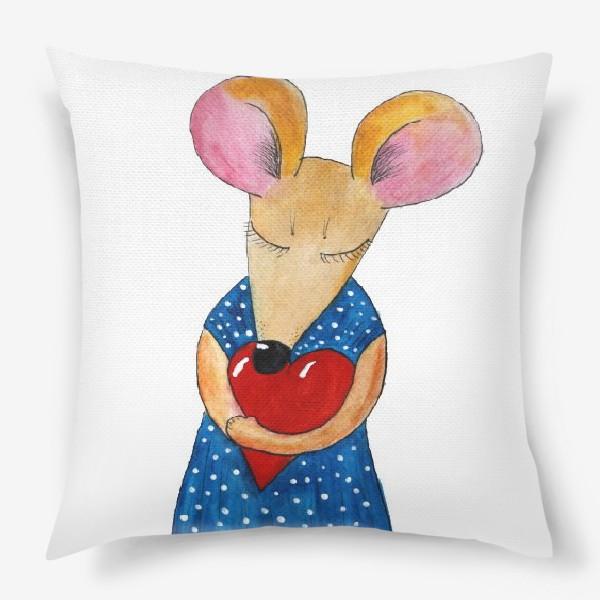 Подушка «Мышка с сердцем»