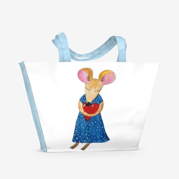 Пляжная сумка «Мышка с сердцем»