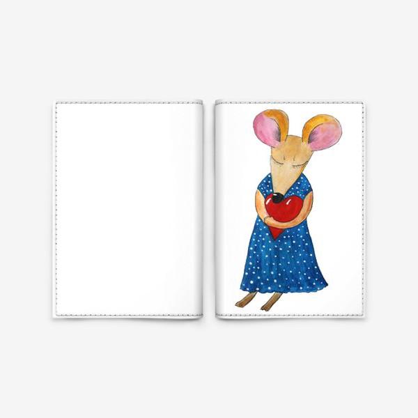 Обложка для паспорта «Мышка с сердцем»