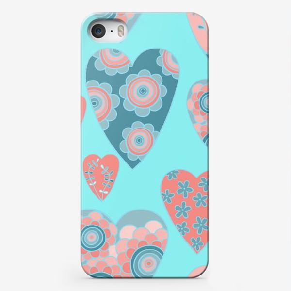 Чехол iPhone «голубые сердца»