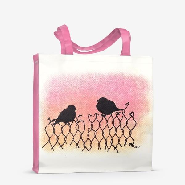 Сумка-шоппер «Птицы на рабице на закате»