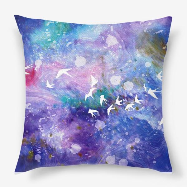 Подушка «Космический полёт ласточек»