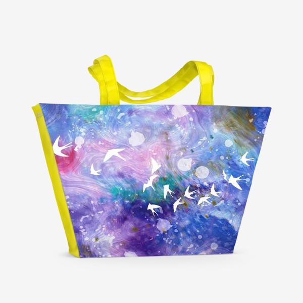 Пляжная сумка «Космический полёт ласточек»