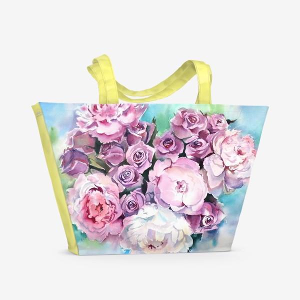 Пляжная сумка «Сердце цветов»