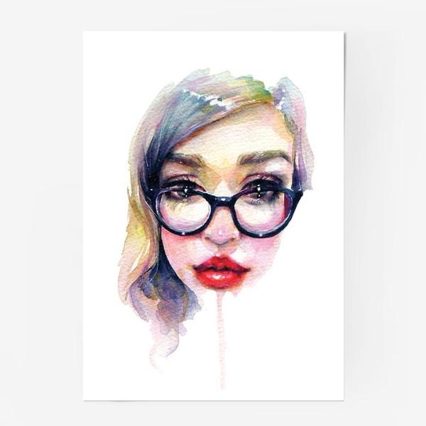 Постер «Librarian Girl. Акварельная девочка в очках»