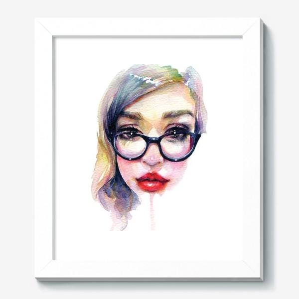 Картина «Librarian Girl. Акварельная девочка в очках»