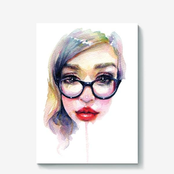 Холст «Librarian Girl. Акварельная девочка в очках»