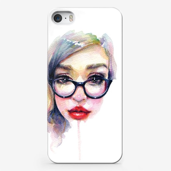 Чехол iPhone «Librarian Girl. Акварельная девочка в очках»