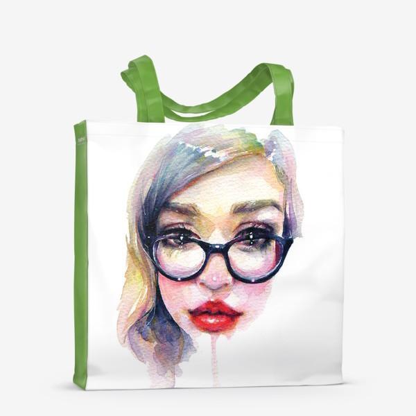 Сумка-шоппер «Librarian Girl. Акварельная девочка в очках»