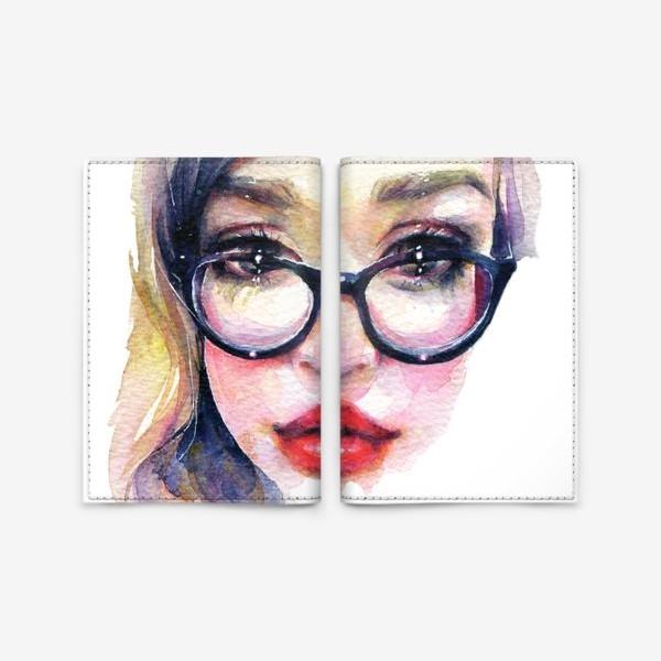Обложка для паспорта «Librarian Girl. Акварельная девочка в очках»