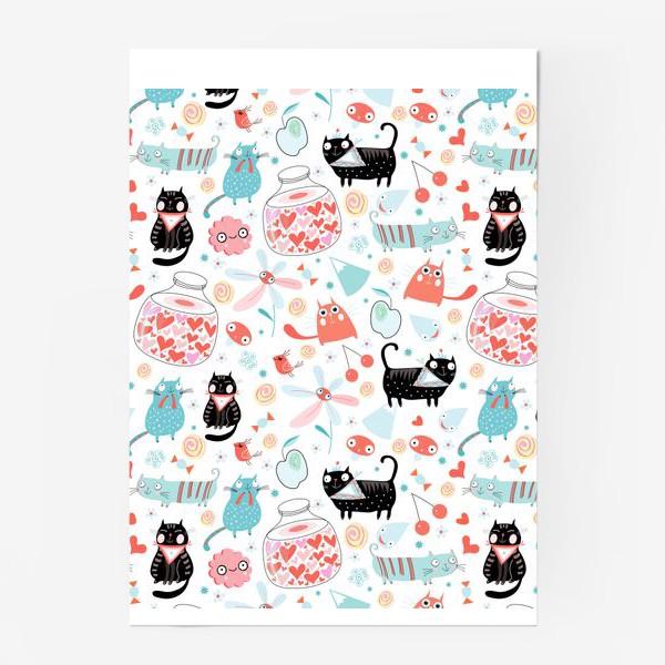 Постер «Графический весёлый узор влюблённые коты»