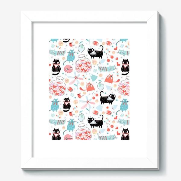 Картина «Графический весёлый узор влюблённые коты»