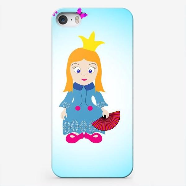 Чехол iPhone «Маленькая рыжеволосая принцесса с веером и бабочками»