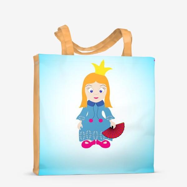 Сумка-шоппер «Маленькая рыжеволосая принцесса с веером и бабочками»