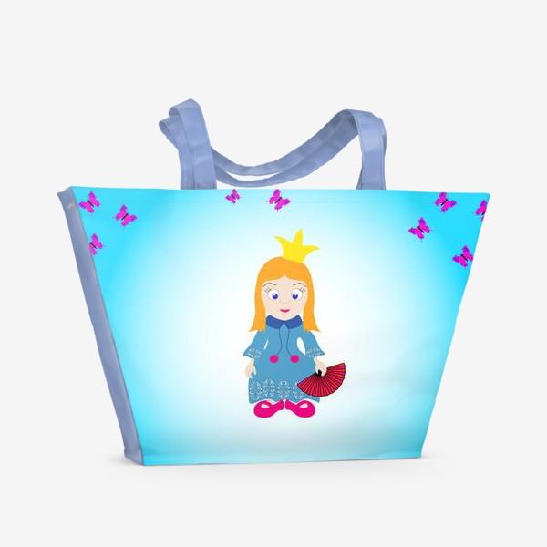 Пляжная сумка «Маленькая рыжеволосая принцесса с веером и бабочками»