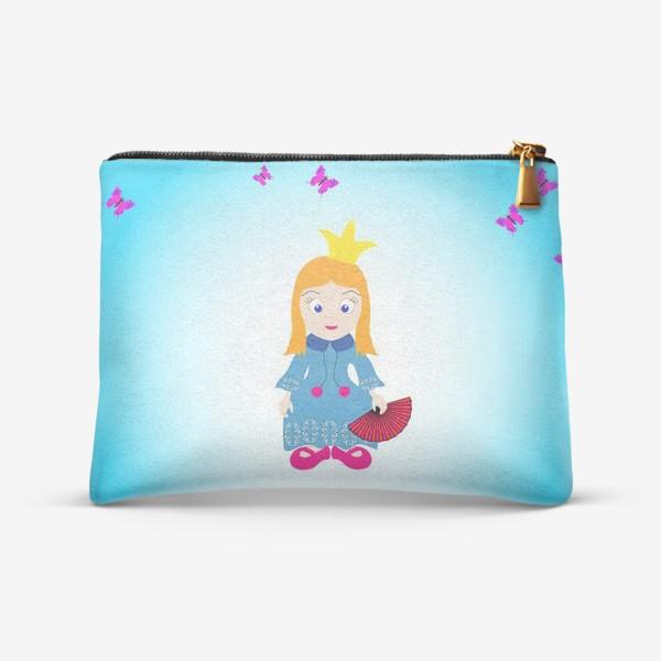 Косметичка «Маленькая рыжеволосая принцесса с веером и бабочками»