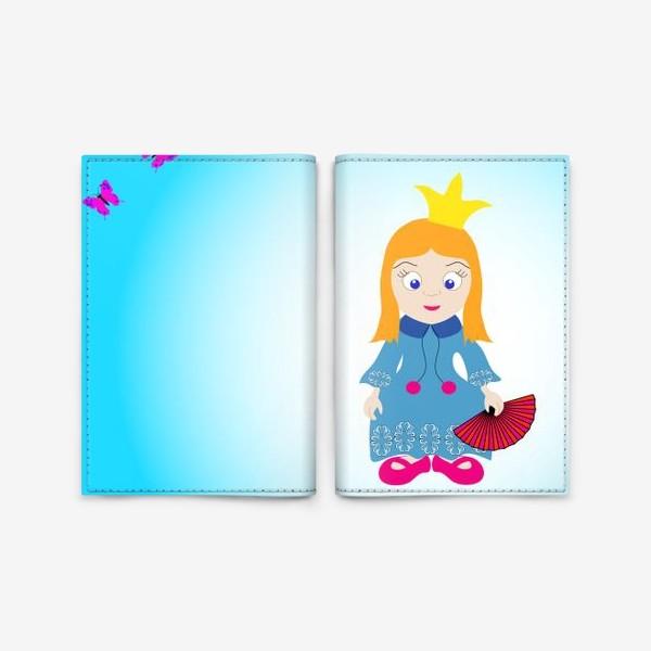 Обложка для паспорта «Маленькая рыжеволосая принцесса с веером и бабочками»