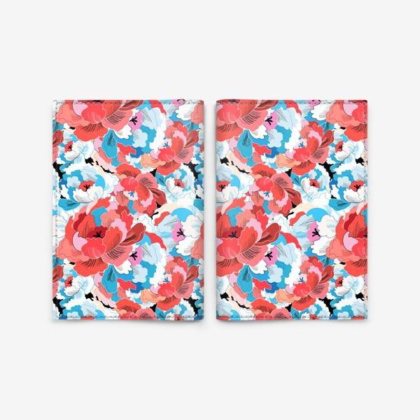 Обложка для паспорта «Прекрасный яркий цветочный узор»