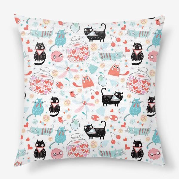 Подушка «Графический весёлый узор влюблённые коты»