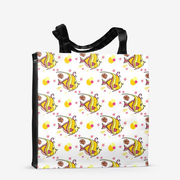 Сумка-шоппер «Паттерн милые тропические рыбки со звездочками и ракушками»