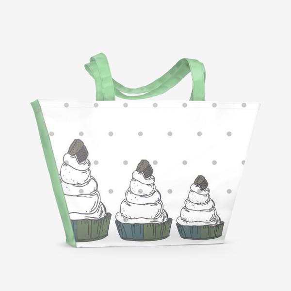 Пляжная сумка «Кексы в ряд в горох стоят»