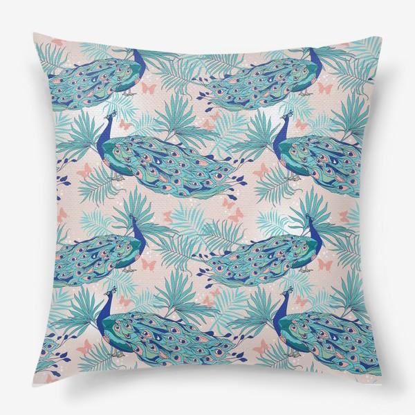 Подушка «Паттерн с павлинами»