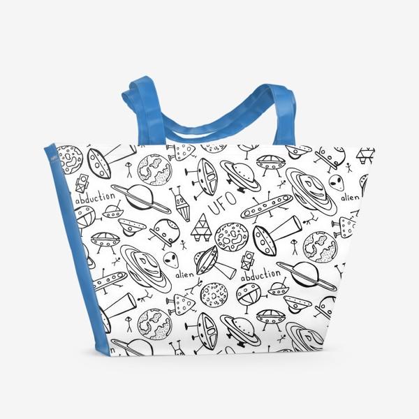 Пляжная сумка «НЛО UFO раскраска»