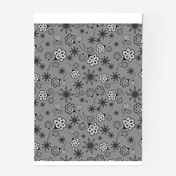 Постер «Черно-белый паттерн с цветами.»