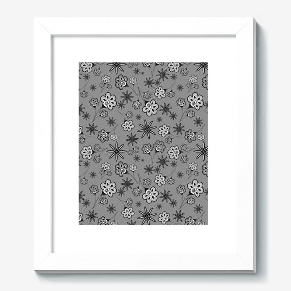 Картина «Черно-белый паттерн с цветами.»