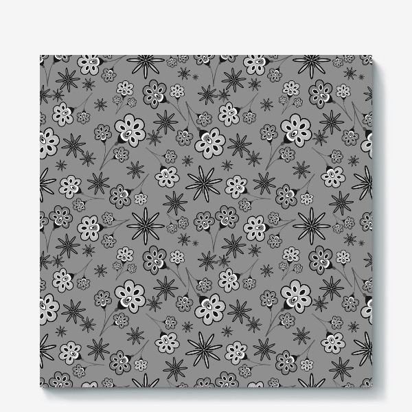 Холст «Черно-белый паттерн с цветами.»