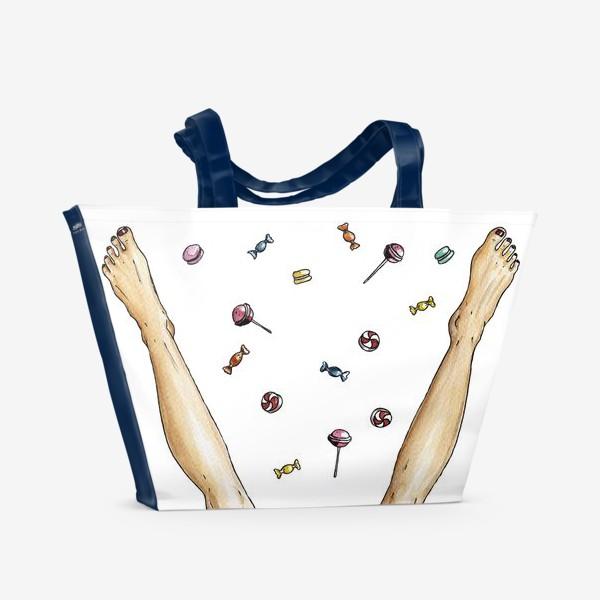 Пляжная сумка «Ноги и сладости / счастье»