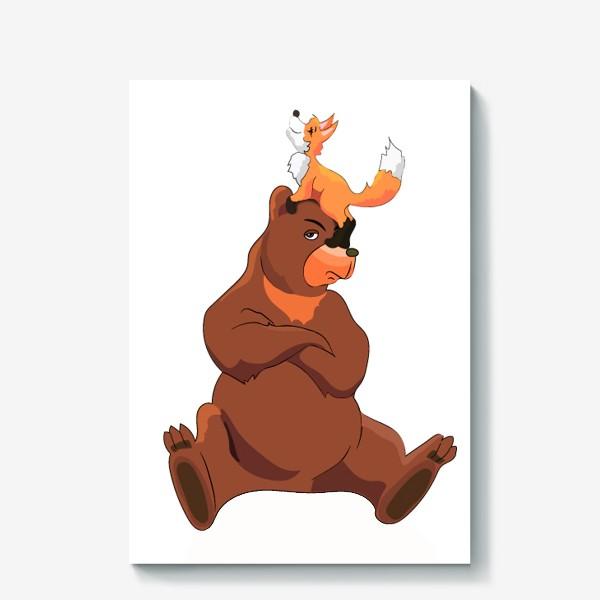 Холст «Медведь и лиса»