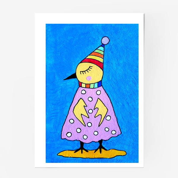 Постер «Птичка в шапочке»
