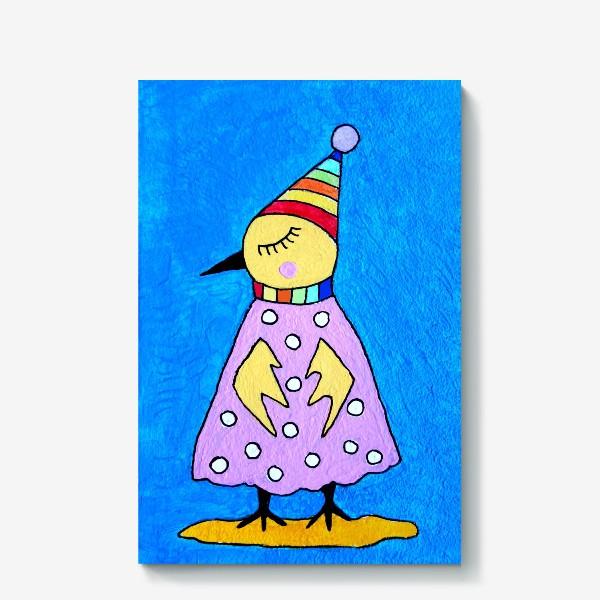 Холст «Птичка в шапочке»