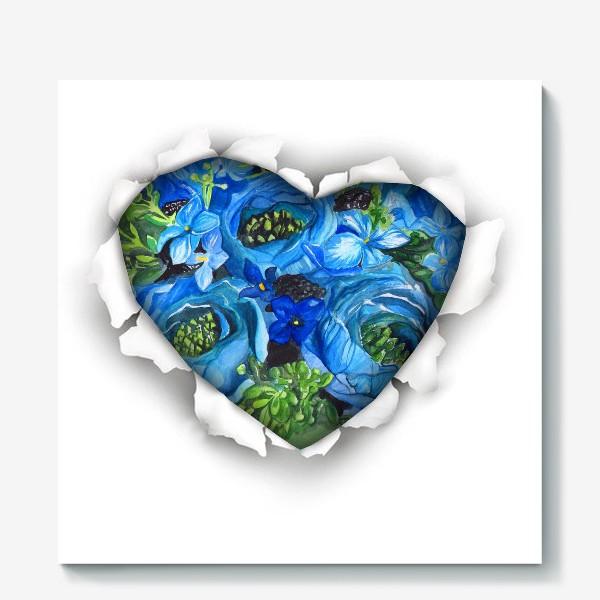 Холст «Сердце голубых цветов»