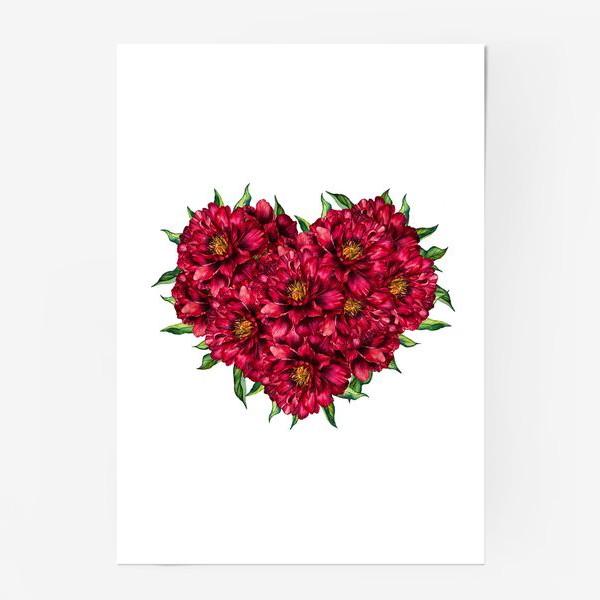 Постер «Сердце из пионов 4 (Heart of peonies)»