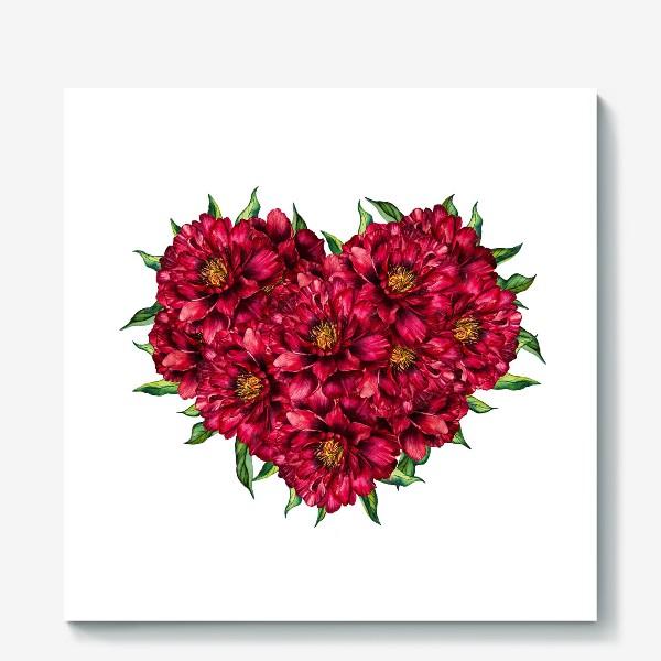 Холст «Сердце из пионов 4 (Heart of peonies)»