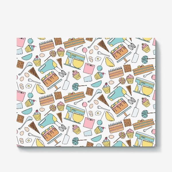 Холст «Люблю готовить. Кондитерская. Тортики, капкейки, леденцы»
