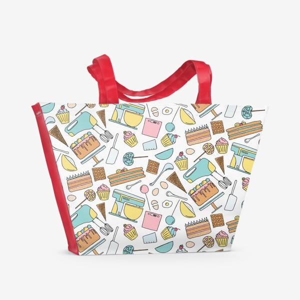 Пляжная сумка «Люблю готовить. Кондитерская. Тортики, капкейки, леденцы»
