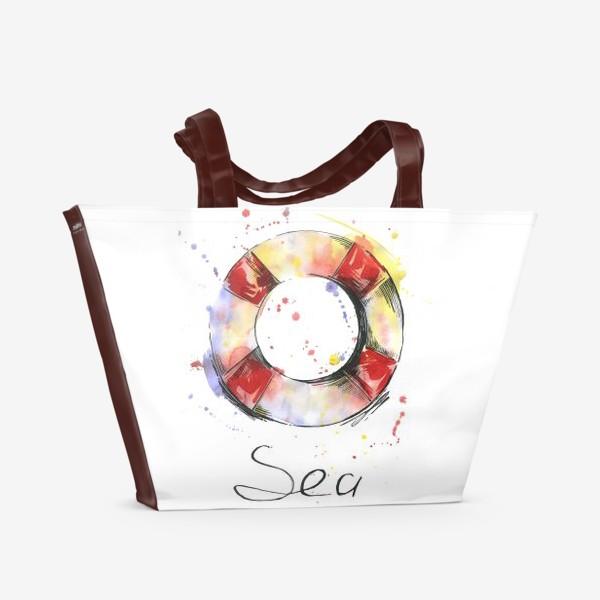Пляжная сумка «Акварельная иллюстрация. Спасательный круг.»